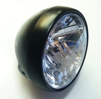 black motorcycle headlight
